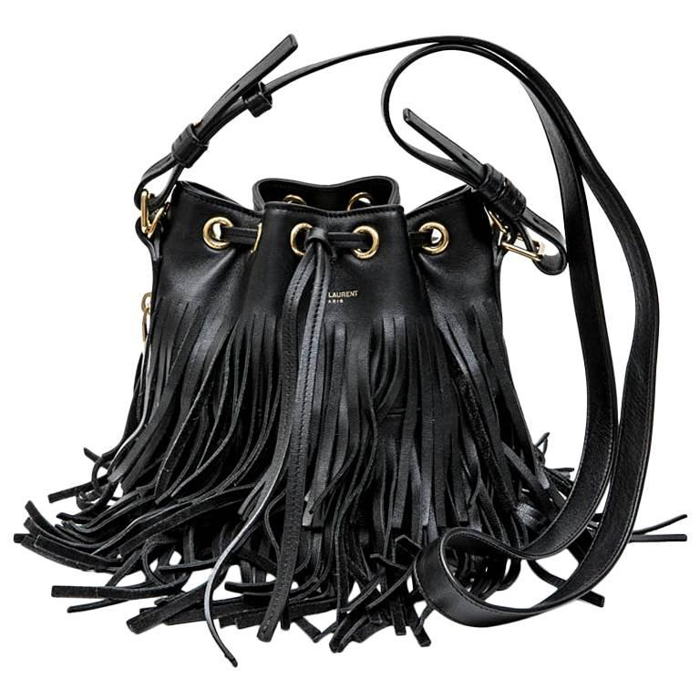 77874201ce SAINT LAURENT Mini  Emmanuelle  Bucket Bag in Black Smooth Leather and  Fringes ...