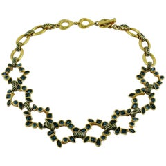 Yves Saint Laurent YSL Vintage Blue Crystals Necklace