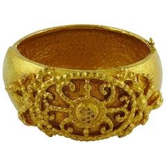 Ines de la Fressage Vintage Gold Toned Cuff Bracelet