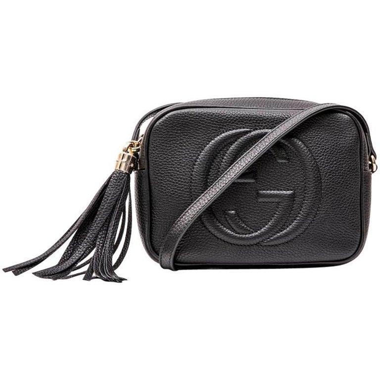 d2f22b0f39d832 GUCCI Soho Disco Bag in Black Grained Calf Leather at 1stdibs