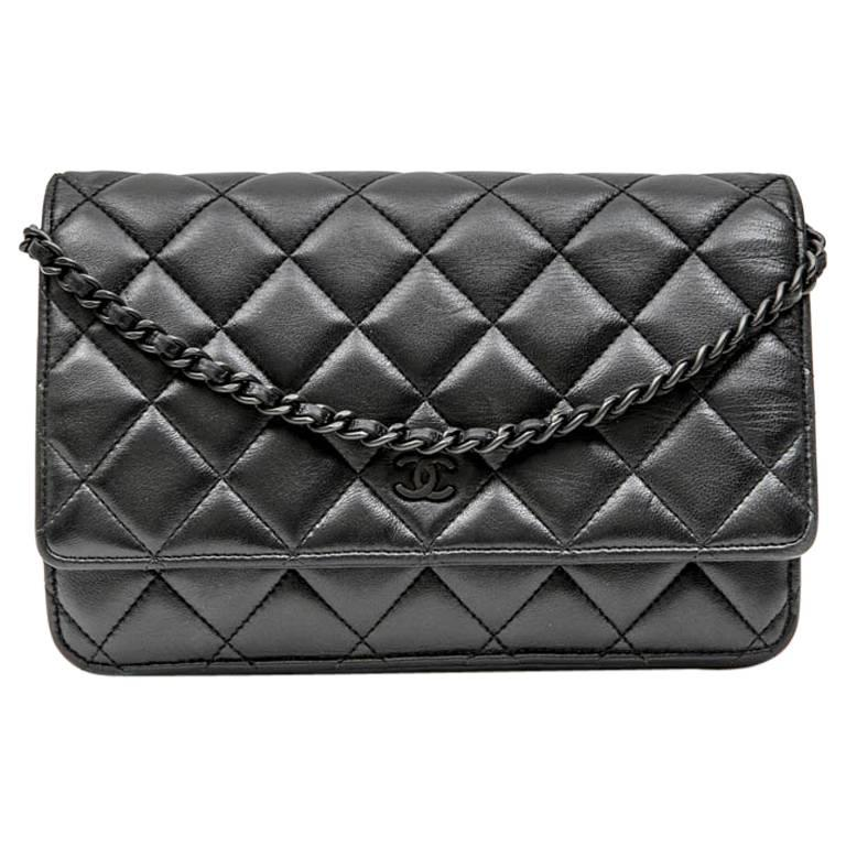 ee1298ebe884 CHANEL  Wallet on Chain  All Black Bag in Black Quilted Smooth Leather ...