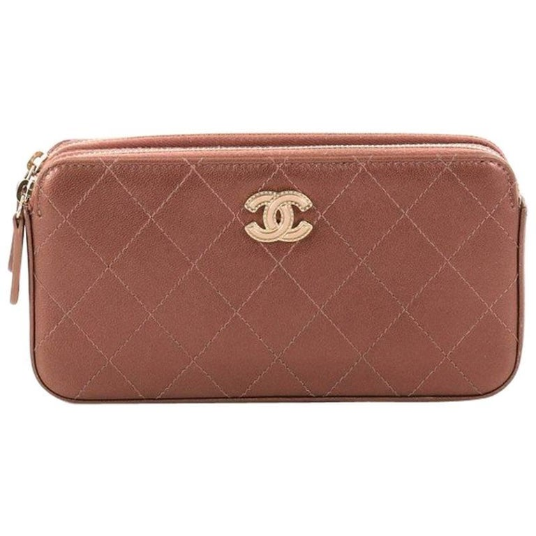 b15825fb38fb Chanel Double Zip Clutch with Chain Quilted Lambskin from 2017 For Sale