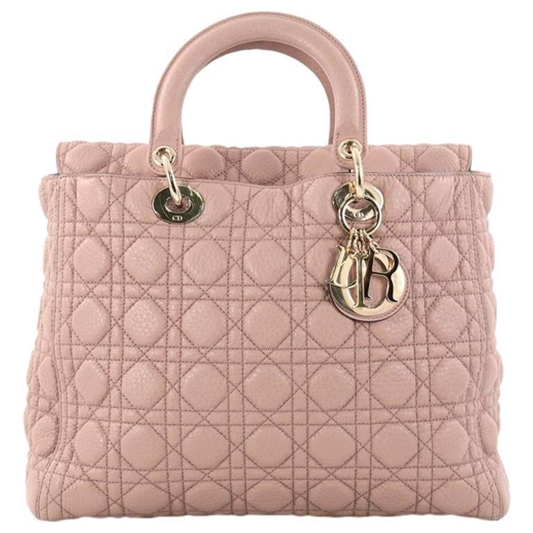 7949b0a8d7b6 Christian Dior Lady Dior Handbag Cannage Quilt Grained Calfskin Large at  1stdibs