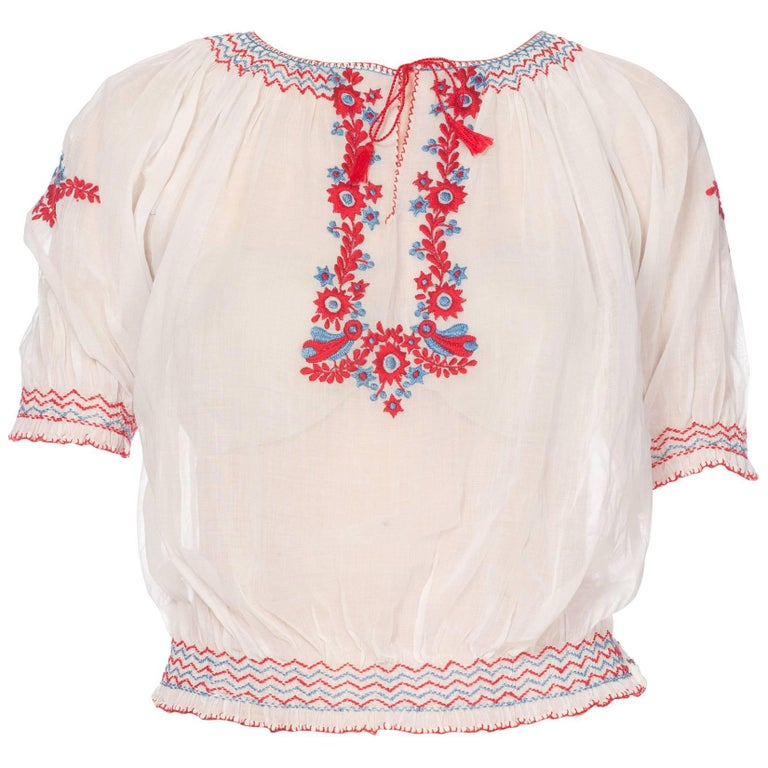 Mid-Century Vintage Hand Embroidered Hungarian Boho Top