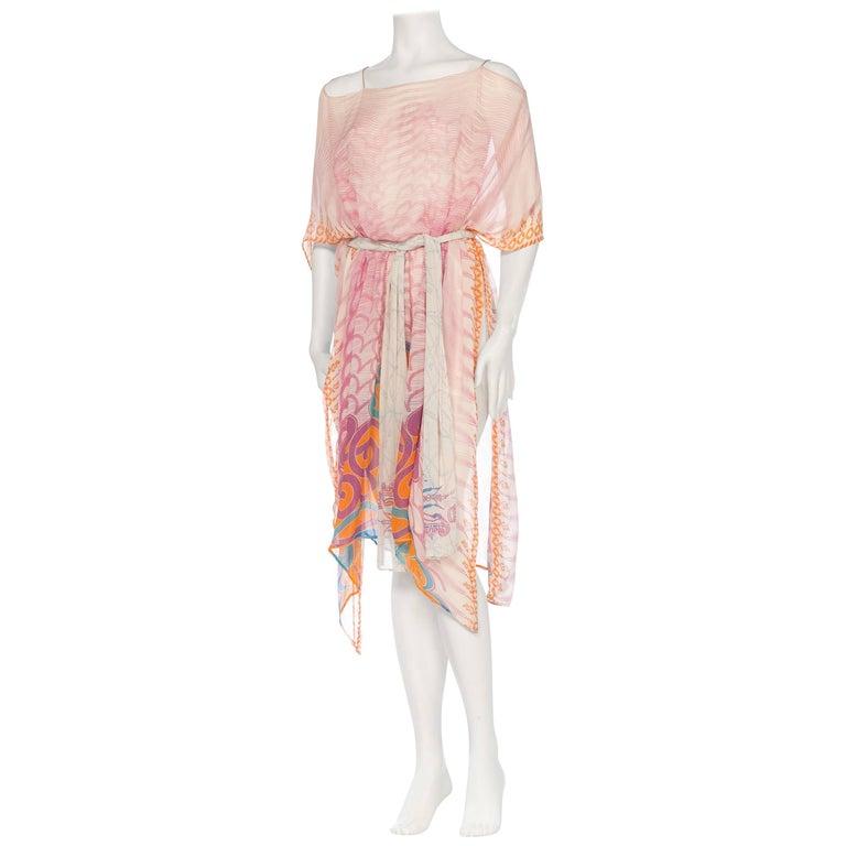 Pink Silk Chiffon Kaftan With Chain Detail by Morphew