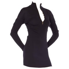 1980s Alaia Zipper Knit Dolman Sleeve Bodycon Mini Dress