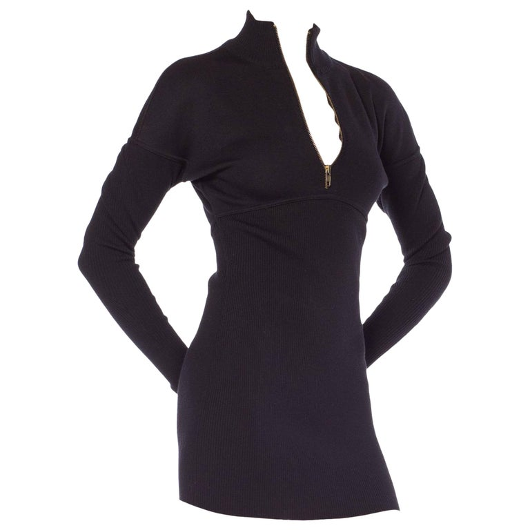 1980s Alaia Zipper Knit Dolman Sleeve Bodycon Mini Dress