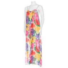 Mary McFadden Sheer Chiffon Large Floral Print Maxi Dress