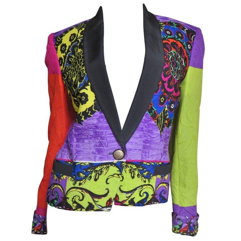 1990s Gianni Versace Color Block Silk Jacket