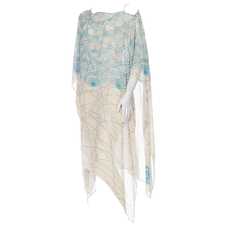 MORPHEW COLLECTION Baby Blue Geometric Silk Chiffon Kaftan With Scarf Belt