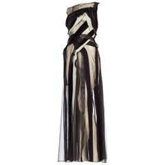 Giorgio Armani Sheer Mesh Velvet Ribbon Evening Gown