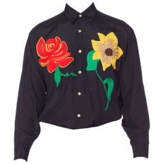 Men's 1990s Black Rayon Top With Large Gucci Style Flower Ribbon Work