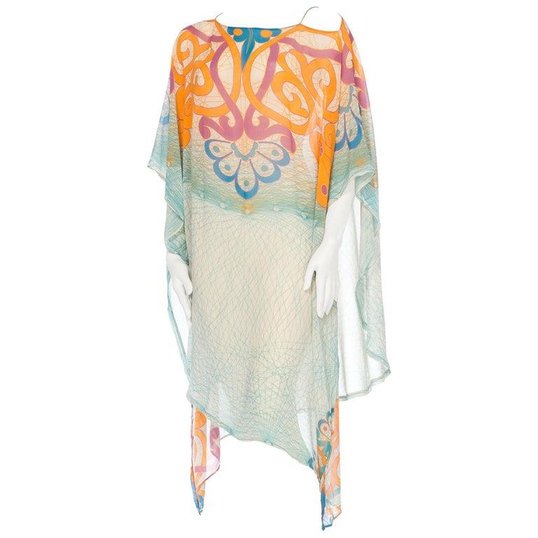 Sheer Silk Caftan With Sash Belt