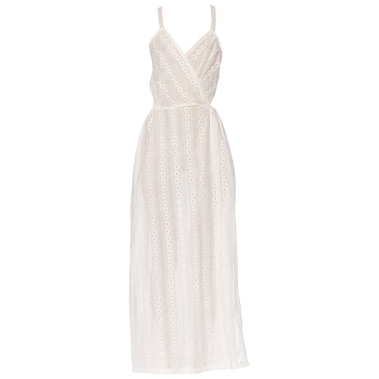 Morphew Backless White Eyelet Lace Summer Maxi Dress