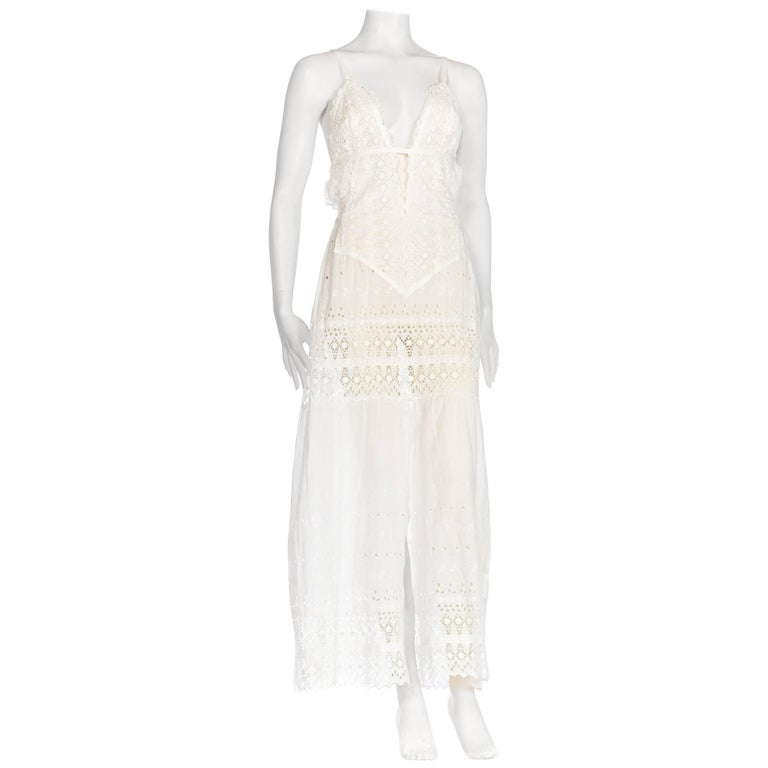 White Cotton Victorian Eyelet  Embroidered Lace Maxi Dress