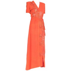 Bright Coral Crepe Sequined Structured Shoulder Gown, 1940s