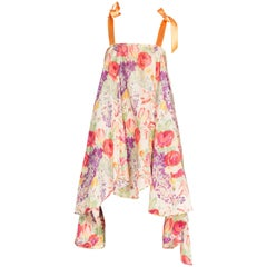 1920s Floral Ikat Balanciaga Style Hamptons Summer Party Dress