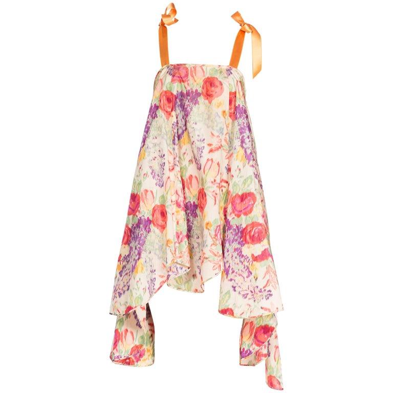 1920s Floral Ikat Balanciaga Style Hamptons Summer Party Dress
