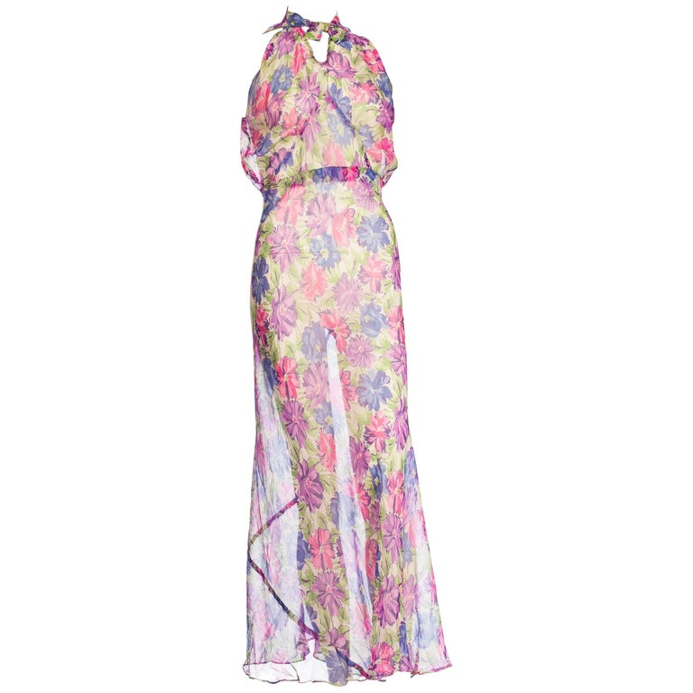 1930s Sheer Floral Silk Chiffon Bias Summer Dress