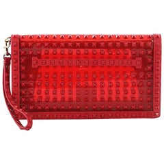 Valentino Rockstud Flap Clutch Studded PVC with Leather