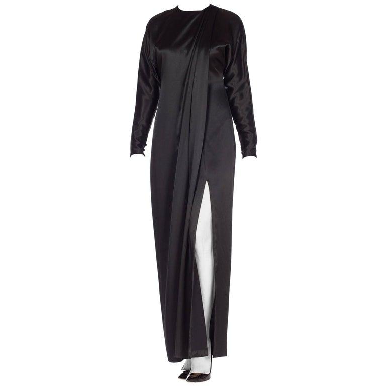 1990s Calvin Klein Black Silk Satin Dolman Sleeve Draped Front Column Dress