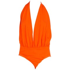 1990S DONNA KARAN Orange Cotton & Silk Deep V  Bodysuit