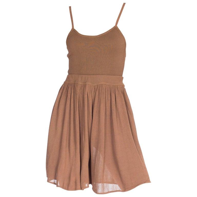 1990s Alaia Nude Slinky Knit Bodysuit & Skirt Shorts Set