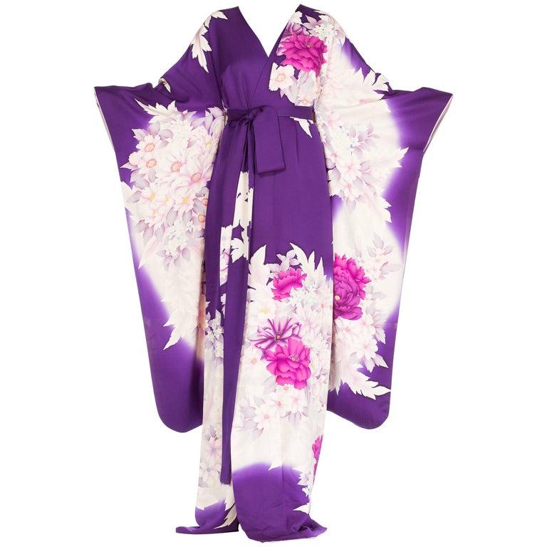 Purple Floral Silk Japanese Kimono Dress
