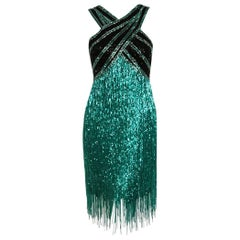 1979 Bob Mackie Teal-Green & Black Beaded Fringe Backless Cocktail Dress