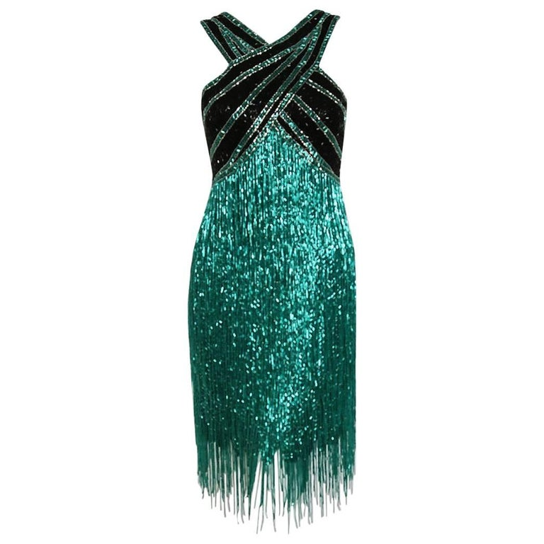 1979 Bob Mackie Teal-Green & Black Beaded Fringe Backless Cocktail Dress