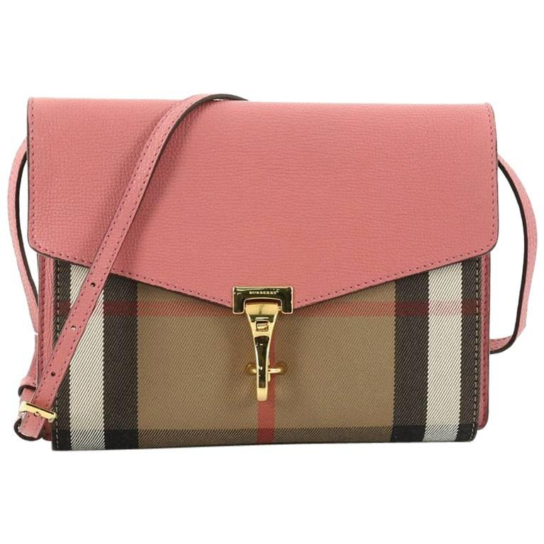 b8636df7aa0b Burberry Macken Crossbody Bag Leather and House Check Canvas Small For Sale