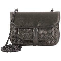 Bottega Veneta Front Pocket Chain Flap Crossbody Bag Intrecciato Nappa Small
