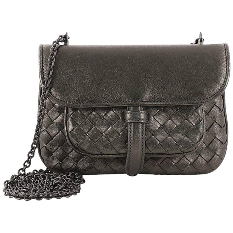 Bottega Veneta Front Pocket Chain Flap Crossbody Bag Intrecciato Nappa Small