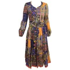 Moorish mosaic cotton print laced front bohemian dress 1960s