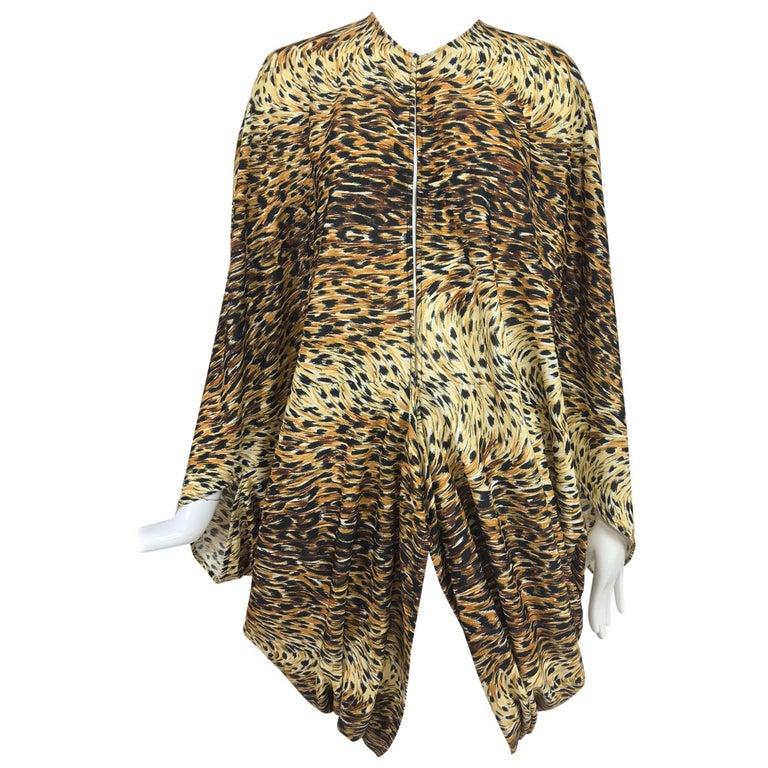 Norma Kamali OMO leopard print cocoon jacket 1970s For Sale