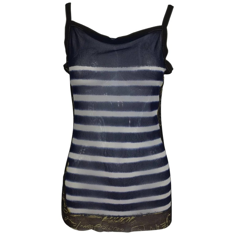 Jean Paul Gaultier signed nautical stripe mesh tank top dated 2001-02 For Sale