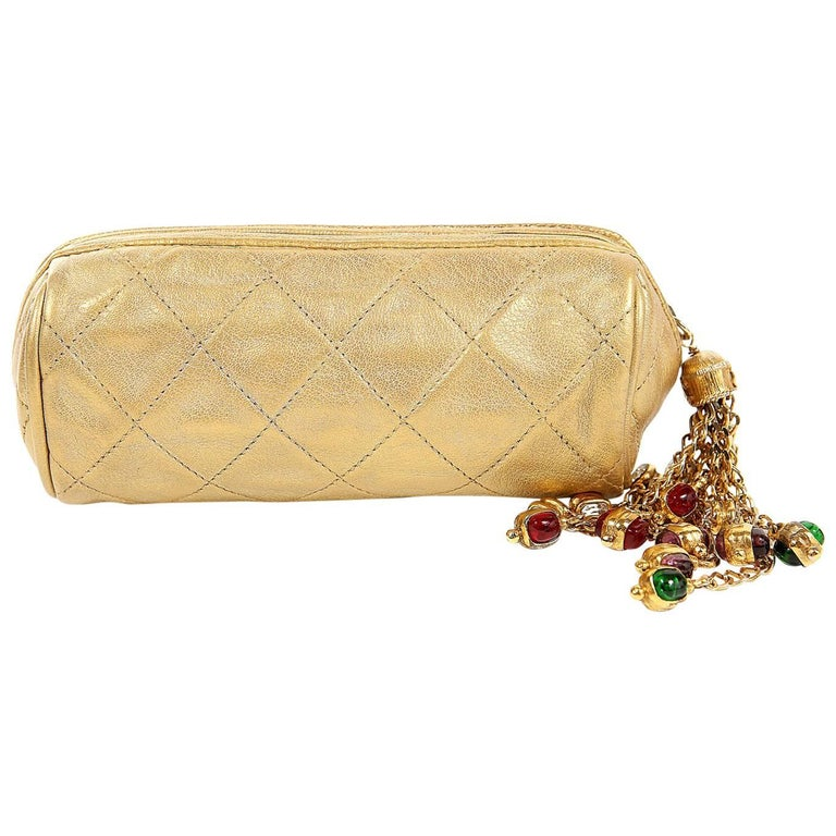 ac2b3e4a46a5 Chanel Gold Leather Gripoix Tassel Evening Bag For Sale at 1stdibs