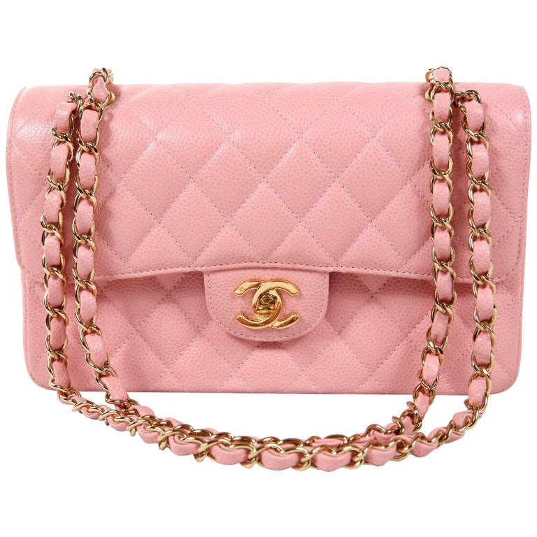 caf07e62cd3e Chanel Pink Caviar Medium Classic Flap Bag- Gold HW at 1stdibs
