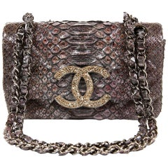 Chanel Silver Lilac Python Flap Bag