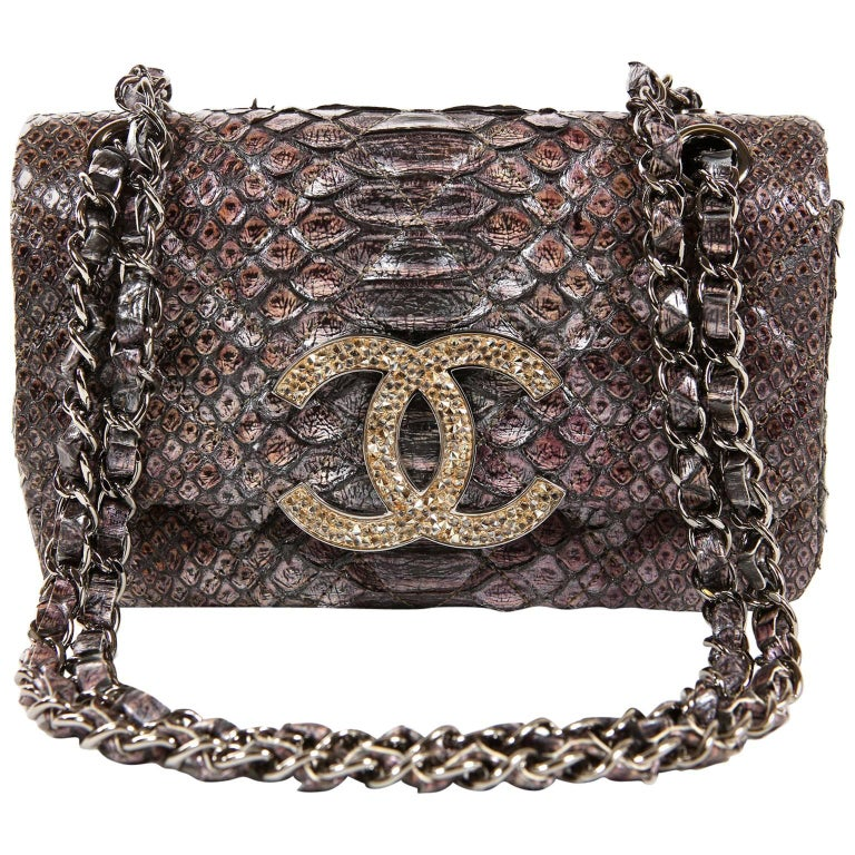 56df122f5649 Chanel Silver Lilac Python Flap Bag at 1stdibs
