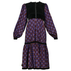 YVES SAINT LAURENT  Velvet & Plaid Smock Dress