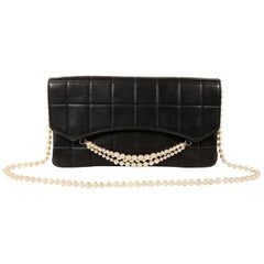 Chanel Black Leather and Pearl Bag