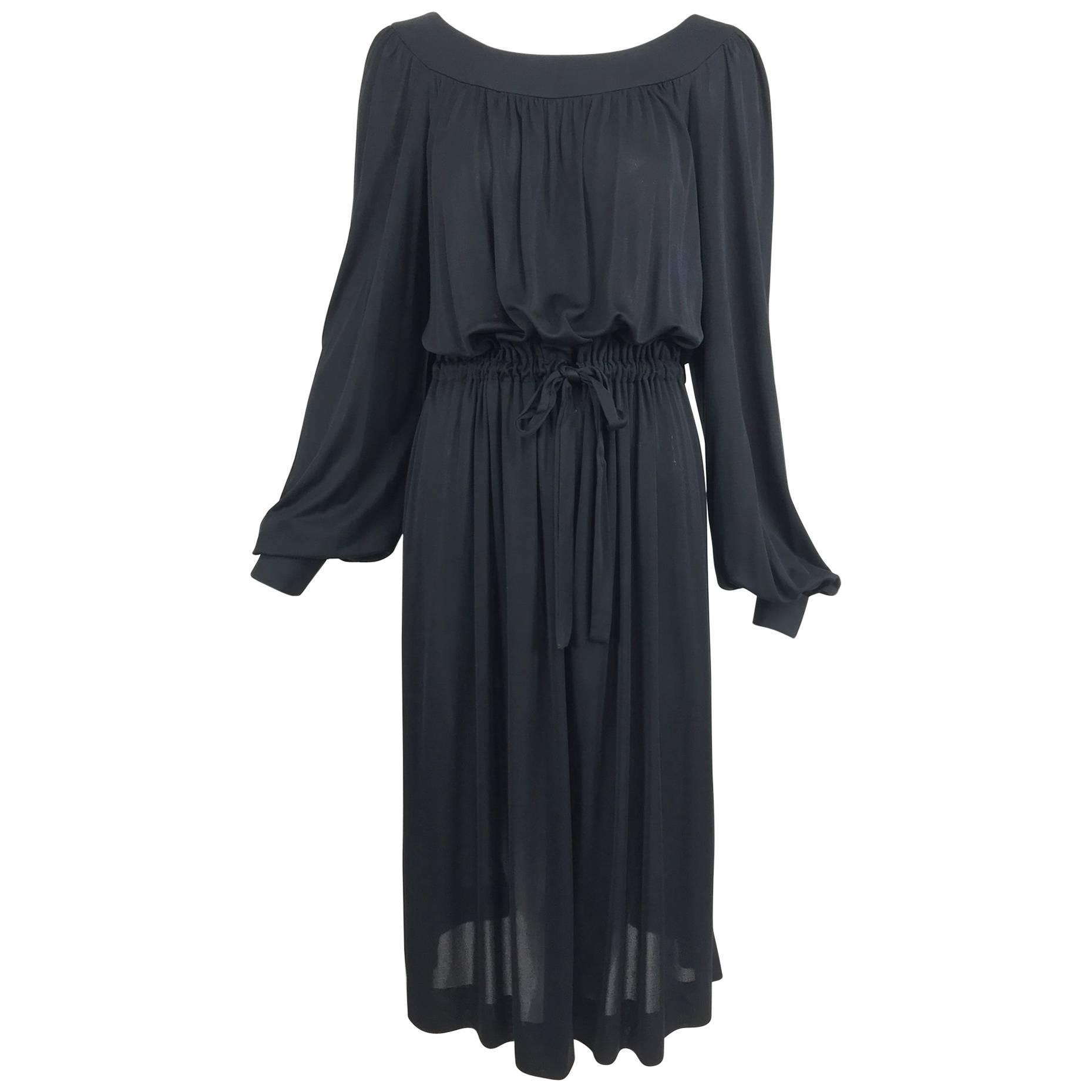 Pucci Black silk jersey draw string waist dress 1960s