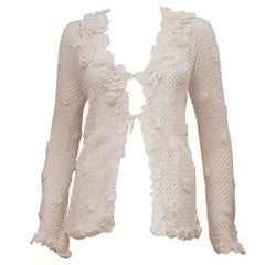 Outstanding Oscar de la Renta Crochet Cardigan with Rosettes Collar & Trim