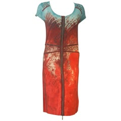 Lovely Luisa Cerano Red & Turquoise Short Sleeve Dress w/ Pewter Tone Studs