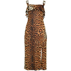 CHRISTIAN DIOR  Leopard Disco Dress with Metal Logo Hardware