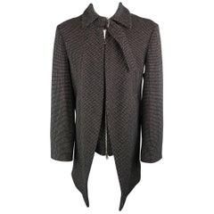 VIVIENNE WESTWOOD Size 14 Black & White Nailhead Wool Strap Collar Corset Coat