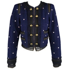 MARC JACOBS Size 2 Navy & Pink Polka Dot Gold Silk Covered Chain Cropped Jacket