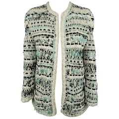 OSCAR DE LA RENTA Size S Cream & Teal Blue Woven Silk Crochet Cardigan Jacket