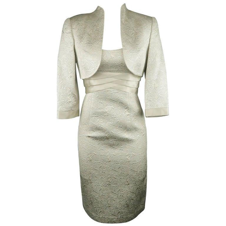 BADGLEY MISCHKA Size 0 Metallic Silver Lace Textured Sleeveless Dress / Bolero
